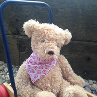 Bandana for Little Dogs, Dolls or Teddies, Handmade in pink floral fabric