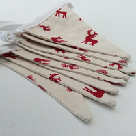 Red Reindeer and Hearts Scandinavian Style Christmas Bunting