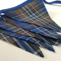 Blue Tartan Mini Bunting, Country Chic Style, in a Blue Wool Tweed Fabric