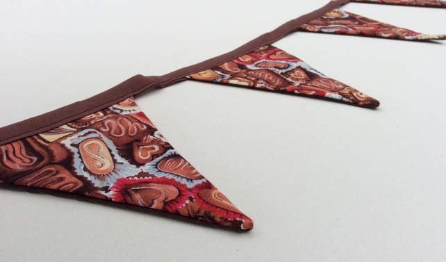 Chocolate Bunting, mini flags with sweets designs, for party or sweet shop