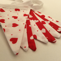 Valentine Hearts and Dots Fabric Bunting in a Red & White Fabric