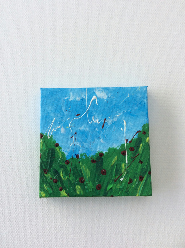Poppy Fields, Miniature Painting, Acrylic paint on Canvas, Hand painted Artwork