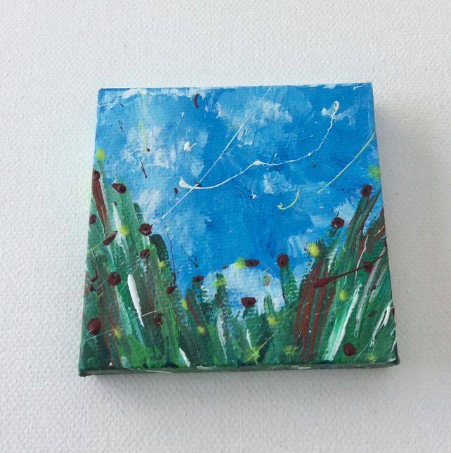 Poppies and Buttercups Miniature Painting, Acrylic on Canvas, Miniature Artwork