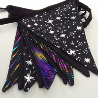 Space Galaxy Bunting, with Silver stars and Purple swirls, Geek, Cosplay