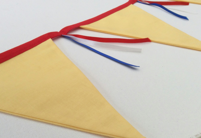 Bunting, Yellow with Red, White, Blue Ribbons, for Birthday, Celebrations