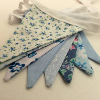 Blue Floral Bunting, Pastel blue flags in vintage and new fabrics for summer