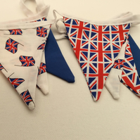 Union Jack Fabric Bunting, Red White & Blue Flags