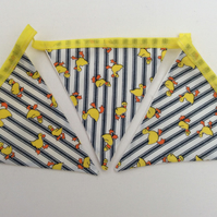 Handmade Fabric Bunting, Quirky Ducks on Stripe Fabric, Easter, Garden, Sun room