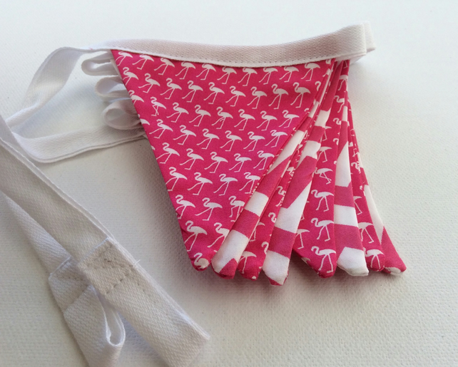 Flamingo Bunting, Cerise Pink, Flamingoes & Chevrons
