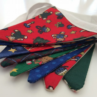 Mini Christmas Bunting, Teddies, Santa, Holly, Gingerbread Men
