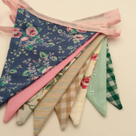 Floral Bunting, with floral and check fabrics, Birthday, Shed, Bedroom, Home