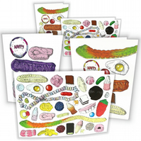 Pack of 5 - Sweets Greetings Card