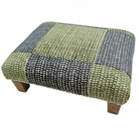 SALE! Patchwork Footstool Green & Brown