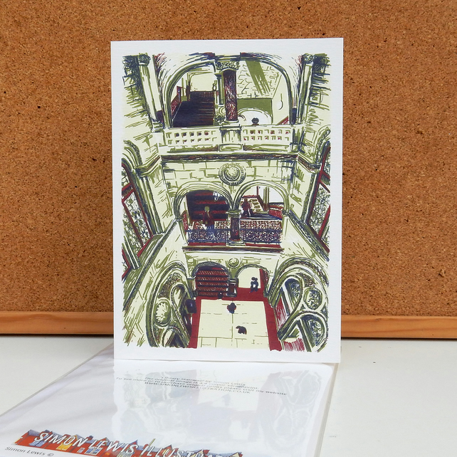 Library Stairway - Leeds Greeting Card