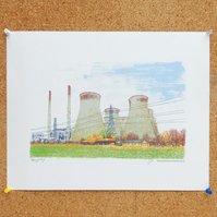 Ferrybridge Art Print - Yorkshire Poster