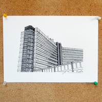 Merrion House Drawing - Leeds Poster
