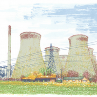 Ferrybridge - Yorkshire Screenprint Art