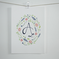 Hand lettered monogram watercolour floral frame print- A5 size