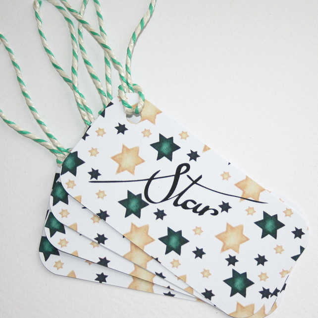 Star- set of four gift tags