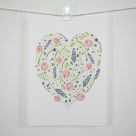 Watercolour floral heart A5 print