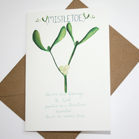 Mistletoe- British wild flower Christmas card