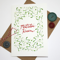 Mistletoe Kisses Christmas card- rustic red