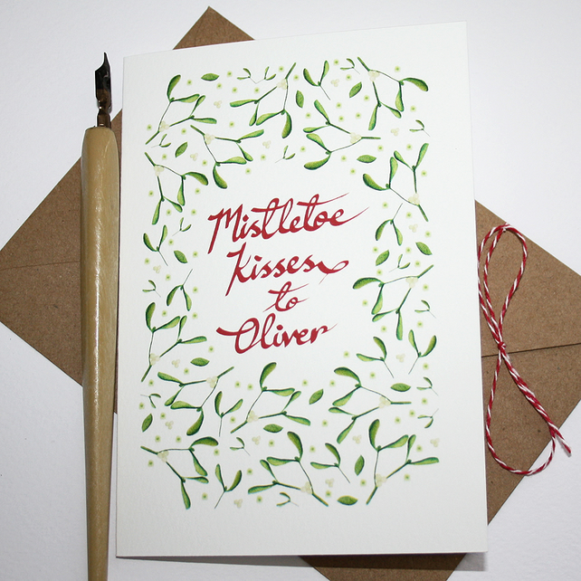 Personalised Mistletoe kisses Christmas card