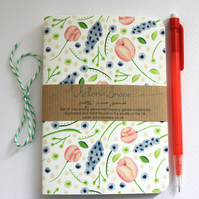 Set of two country garden- hand bound recycled notebooks