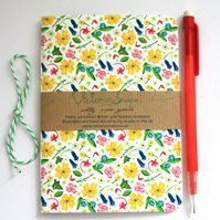 British wildflowers- hand bound recycled notebook
