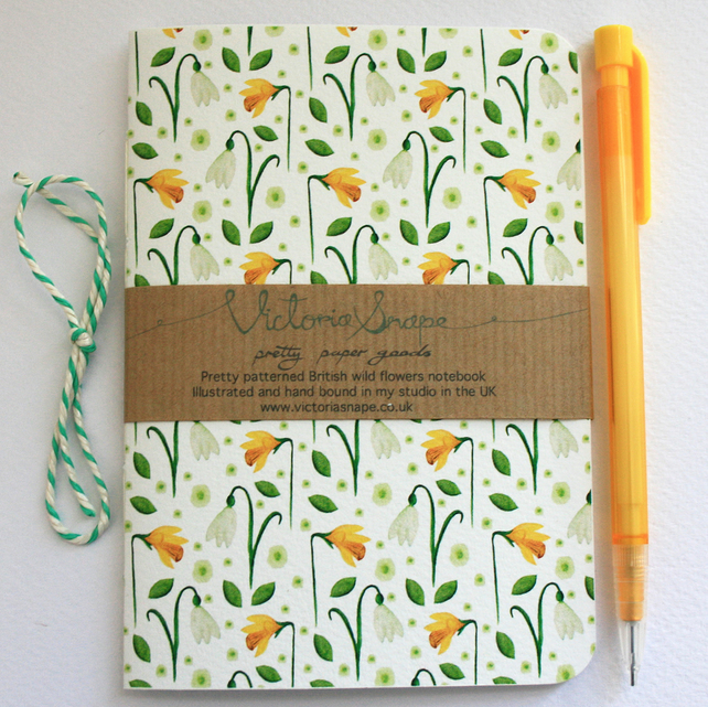 Springtime- British wild flowers- hand bound recycled notebook