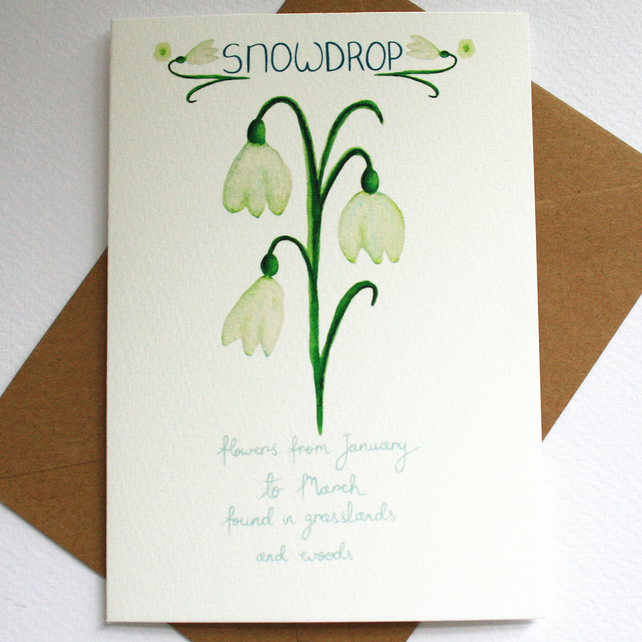 Snowdrop- British wild flower card