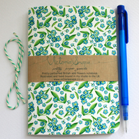 Forget me not- hand bound recycled notebook
