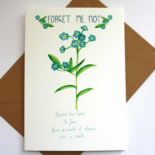Forget me not- British wild flower card
