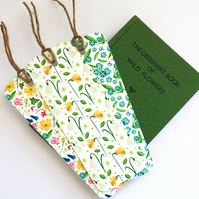 Set of three British wild flowers bookmarks