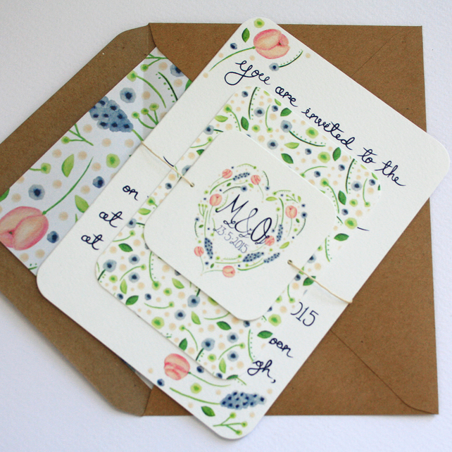 Country garden wedding invitation set