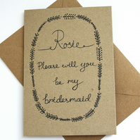 Personalised - Will you be my bridesmaid card