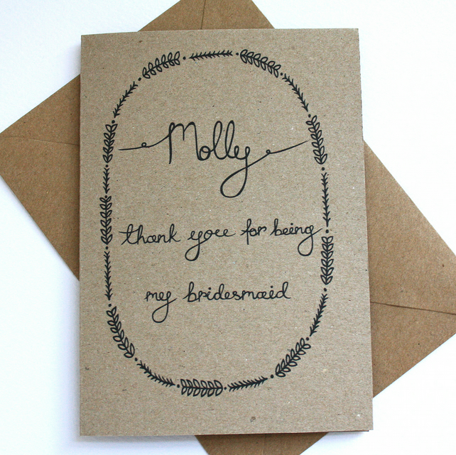 Personalised- Thank you for being my bridesmaid card