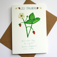 Wild strawberry- British wildflower card