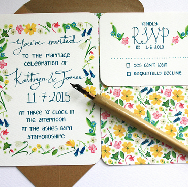 Wildflower Wedding invitation set