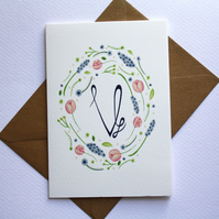 Monogram watercolour floral frame card