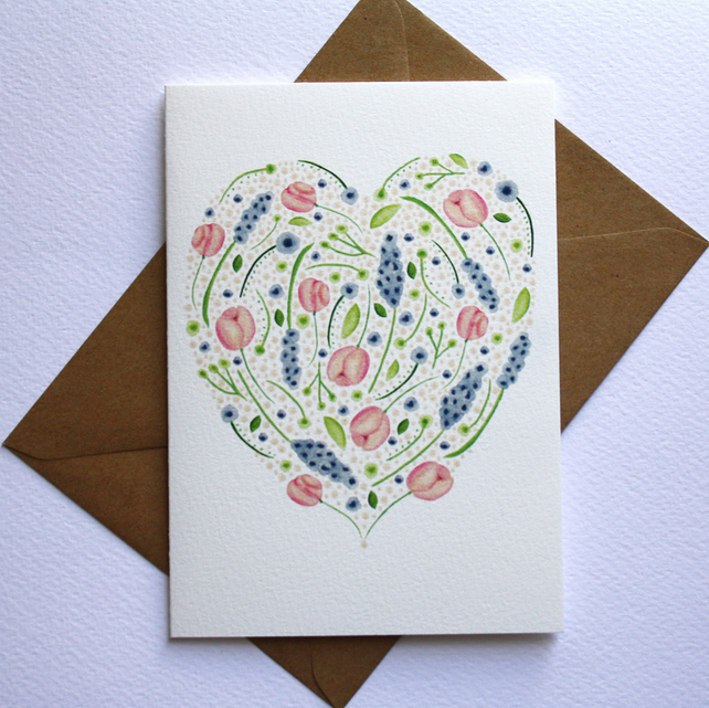Watercolour floral heart card