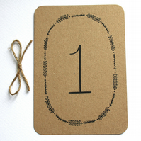 Woodland wedding table numbers