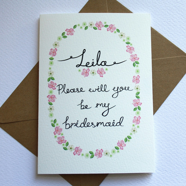 Personalised- wildflower will you be my bridesmaid card