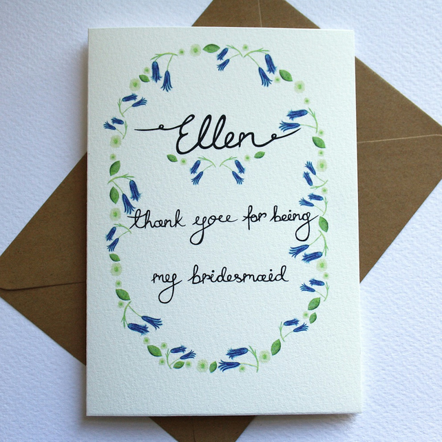 Personalised- wildflower thank you for being my bridesmaid card