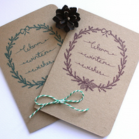 Warm winter wishes- Set of four recycled Christmas cards