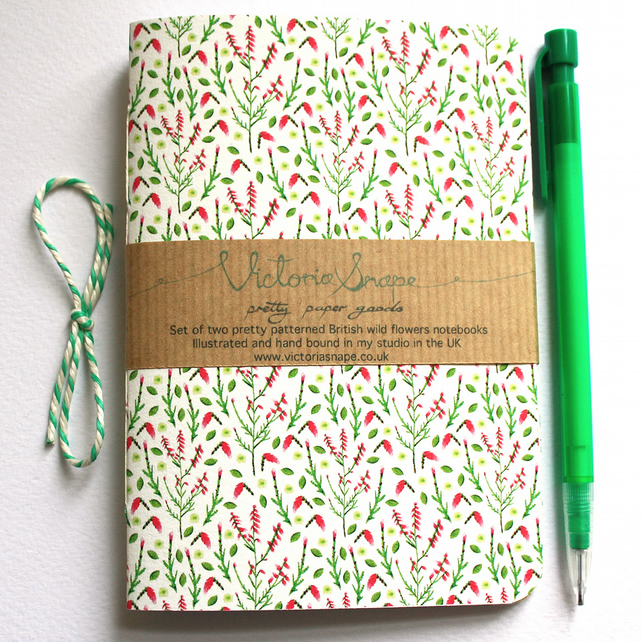 Set of two British wildflowers- Tansy and Heather- hand bound recycled notebooks