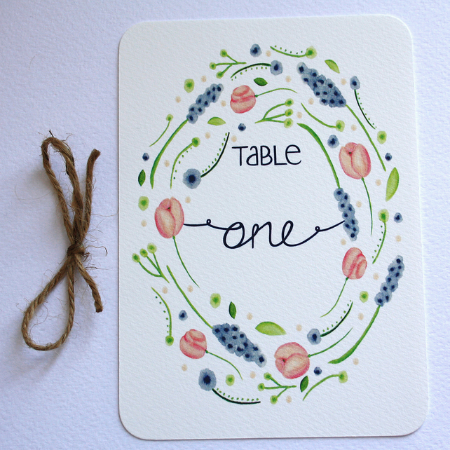 Country garden wedding table numbers