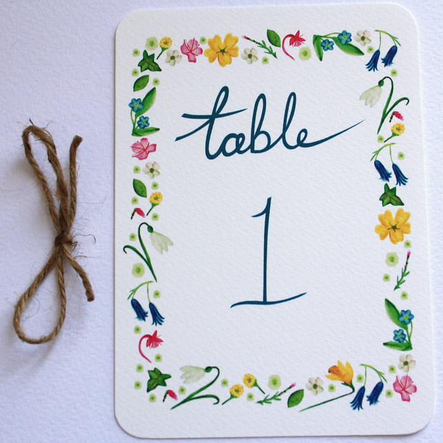 Wildflower wedding table numbers