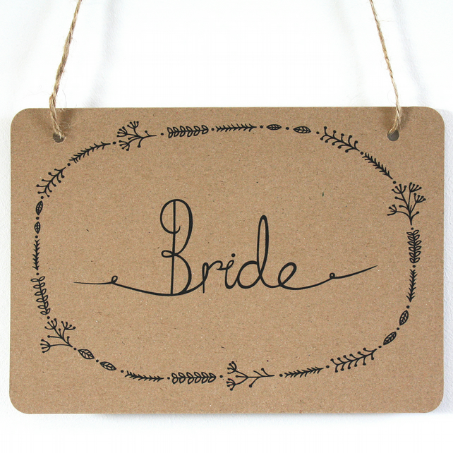Bride and Groom woodland wedding signs