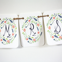Mr and Mrs country garden wedding bunting